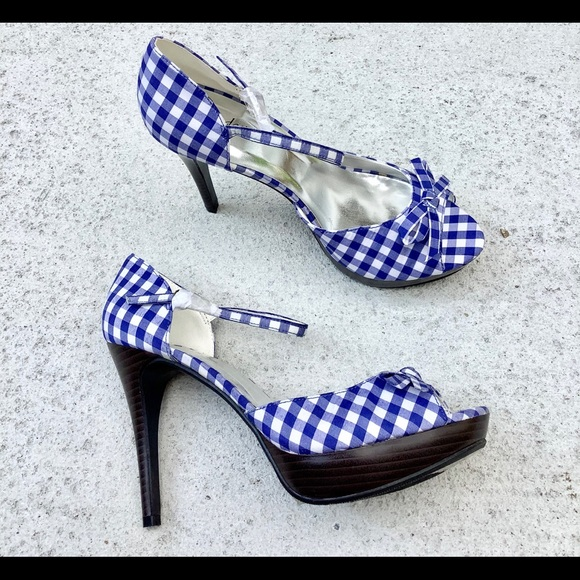 Blue And White Gingham Sandals